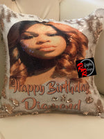 Custom Sequin Pillow (Please type in details at checkout / email clear picture to thompsonstevensonllc@gmail.com / 2 picture maximum ✨2 week turn around on all pillows✨ Please Select Appropriate Variant/Caption On Front $0/