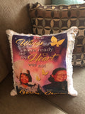 Custom Sequin Pillow (Please type in details at checkout / email clear picture to thompsonstevensonllc@gmail.com / 2 picture maximum ✨2 week turn around on all pillows✨ Please Select Appropriate Variant/Caption On Front $0/Caption On Back Additional $5.00