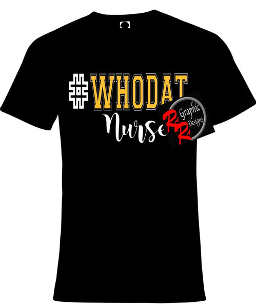 "Stethoscope Nurse ""Who Dat"" Glitter Shirt"