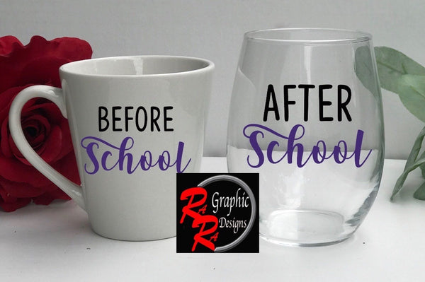 Before School / After School Teacher Glass & Mug Set