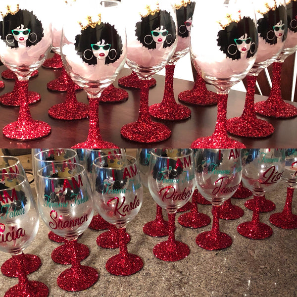 Afro Lady Glittered Stem Wine Glass