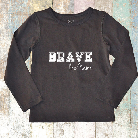 Personalised BRAVE like Long Sleeve (Charcoal Grey) - Long Sleeve T-Shirt
