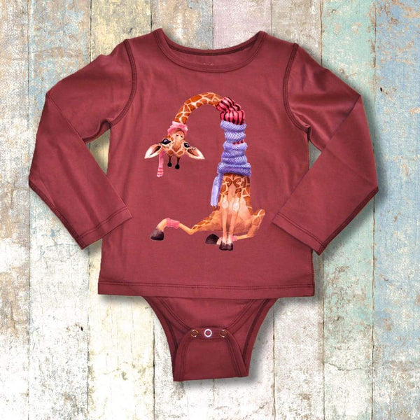 Gtube Adaptive Clothing - Giraffe Long Sleeve (Maroon)