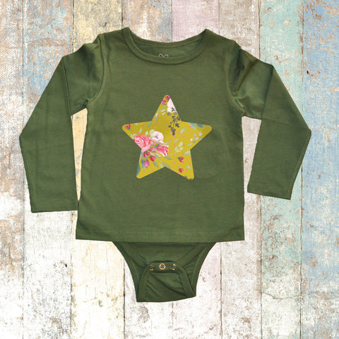 Star Long Sleeve (Olive Green) - Long Sleeve T-Shirt