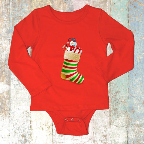 Christmas Stocking Long Sleeve (Red) - Long Sleeve T-Shirt