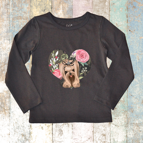 Yorkie Long Sleeve (Charcoal Grey) - Long Sleeve T-Shirt