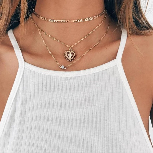 New Style Moon Cross Necklace