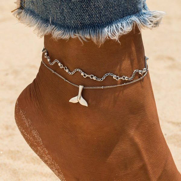 Mermaid Tail Wave Beads Anklet