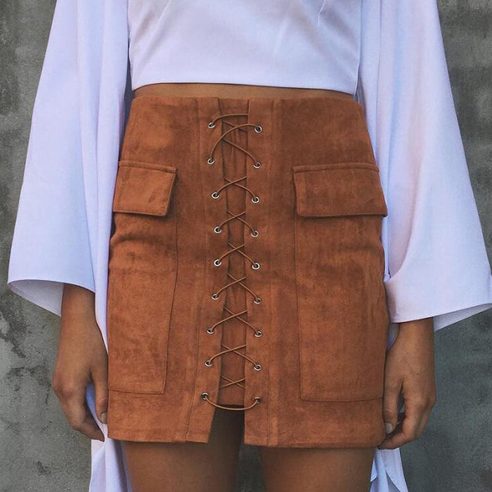 Amelia Lace Up Suede Skirt