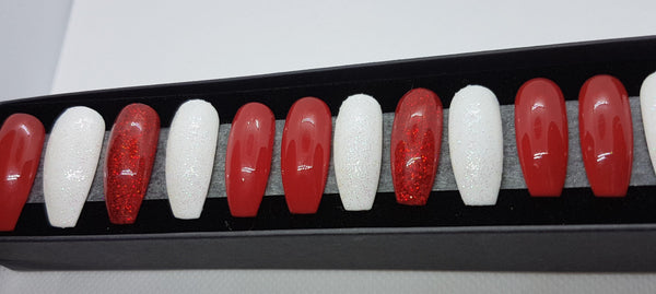 Red and White Glittery Nail Kit