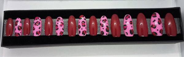 Pink and Black Leopard Print Nail Kit
