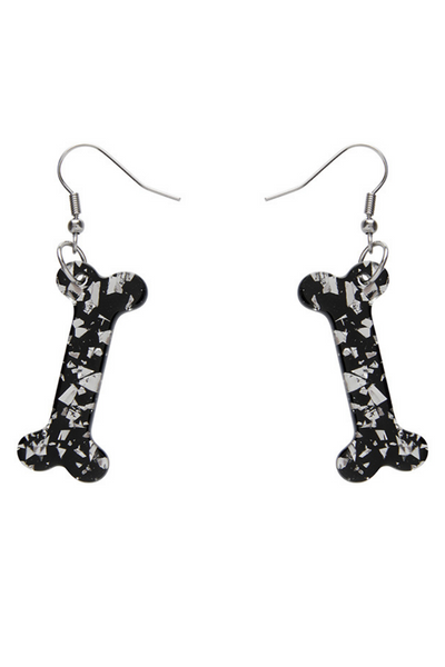 *NEW* Bones Chunky Glitter Resin Drop Earrings - White