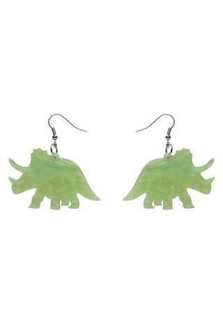 *NEW* Triceratops Ripple Glitter Resin Drop Earrings: Lime