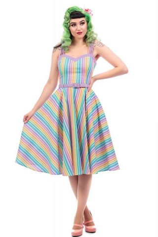 *NEW* Mainline Nova Rainbow Stripes Swing Dress