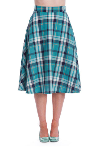 Treat Me Flare Skirt: Blue/Green