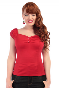 *RESTOCKED* Mainline Dolores Top Plain- Red