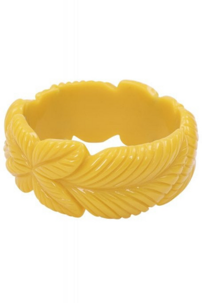 *NEW* Carrie Vintage Leaves Bangle: Mustard yellow