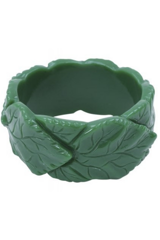 *RESTOCKED* Carrie Carved Leaves Bangle: Green
