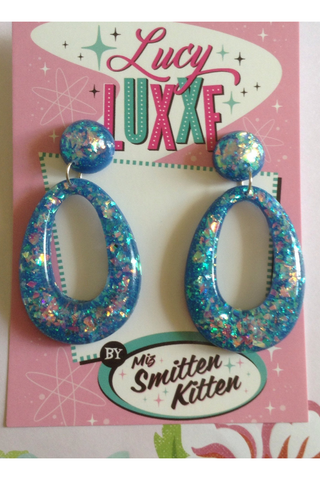 BIG BETTY Confetti Lucite hoops: DARK BLUE