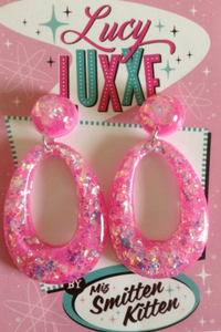 BIG BETTY Confetti Lucite Hoops: Hot Pink