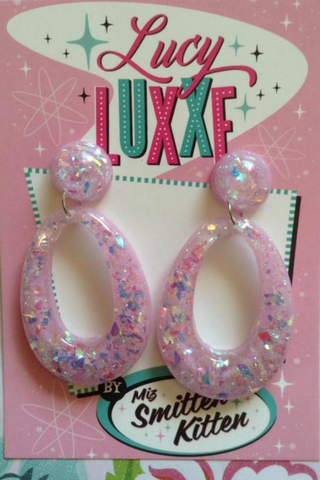 BIG BETTY confetti lucite hoops: LILAC