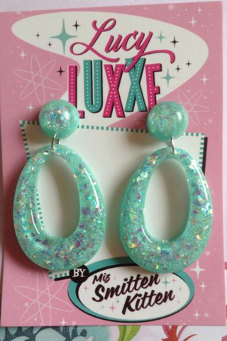 BIG BETTY confetti Lucite hoops: MINT