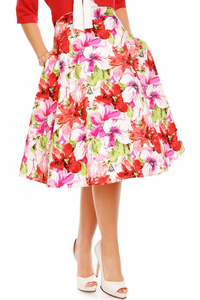 Blossom Floral High Waist Skirt in White/Pink/Red
