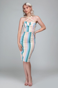 *NEW* Mainline Kiana Teacup Stripe Pencil Dress