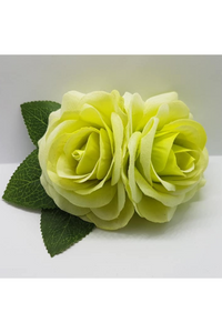 Small Double Flocked Rose Clips: Tea Green