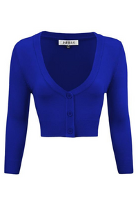 MAK Cropped Cardigan: Royal Blue