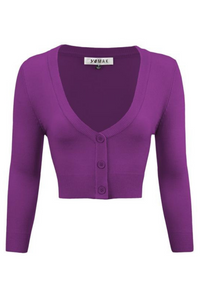 MAK Cropped Cardigan: Purple