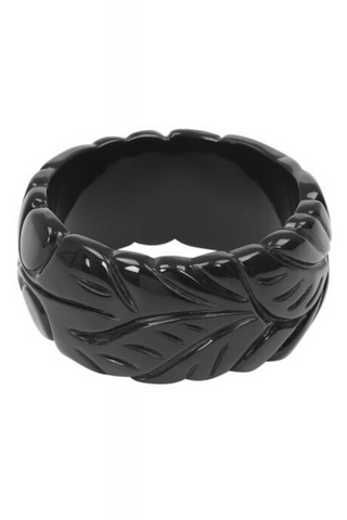 Carrie 40s Leaves Bangle: Black