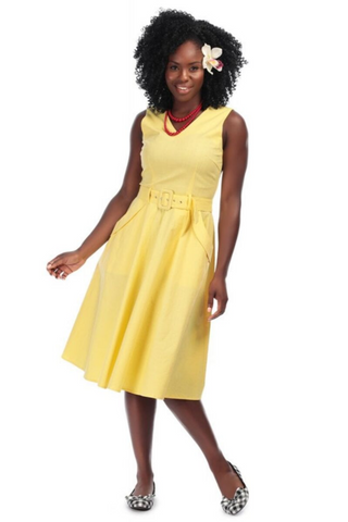 Mavis Plain Yellow Swing Dress