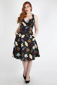 *NEW* Lucy Vegas Print Black Flared Dress