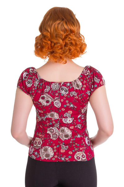Skull Love Top-Red