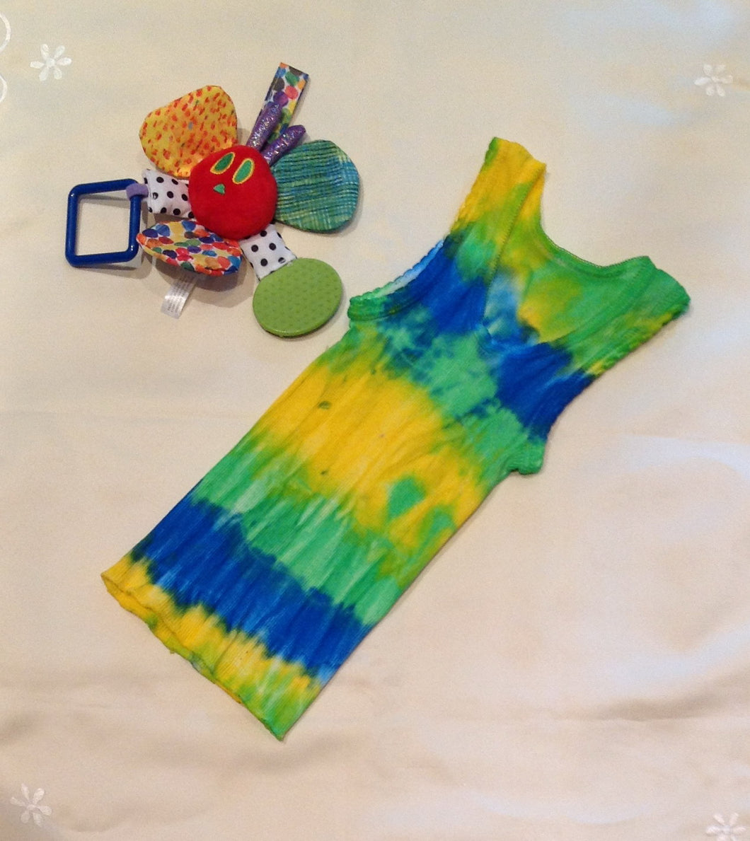 Tie Dyed Baby Singlet Size 0 Blue, Green, Yellow Combination