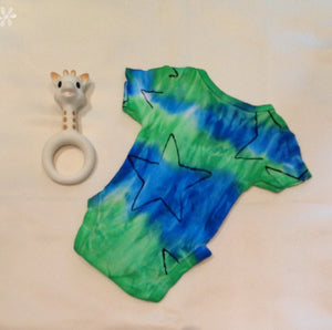 Tie Dyed Baby Romper Size 00000 Blue Green Combination