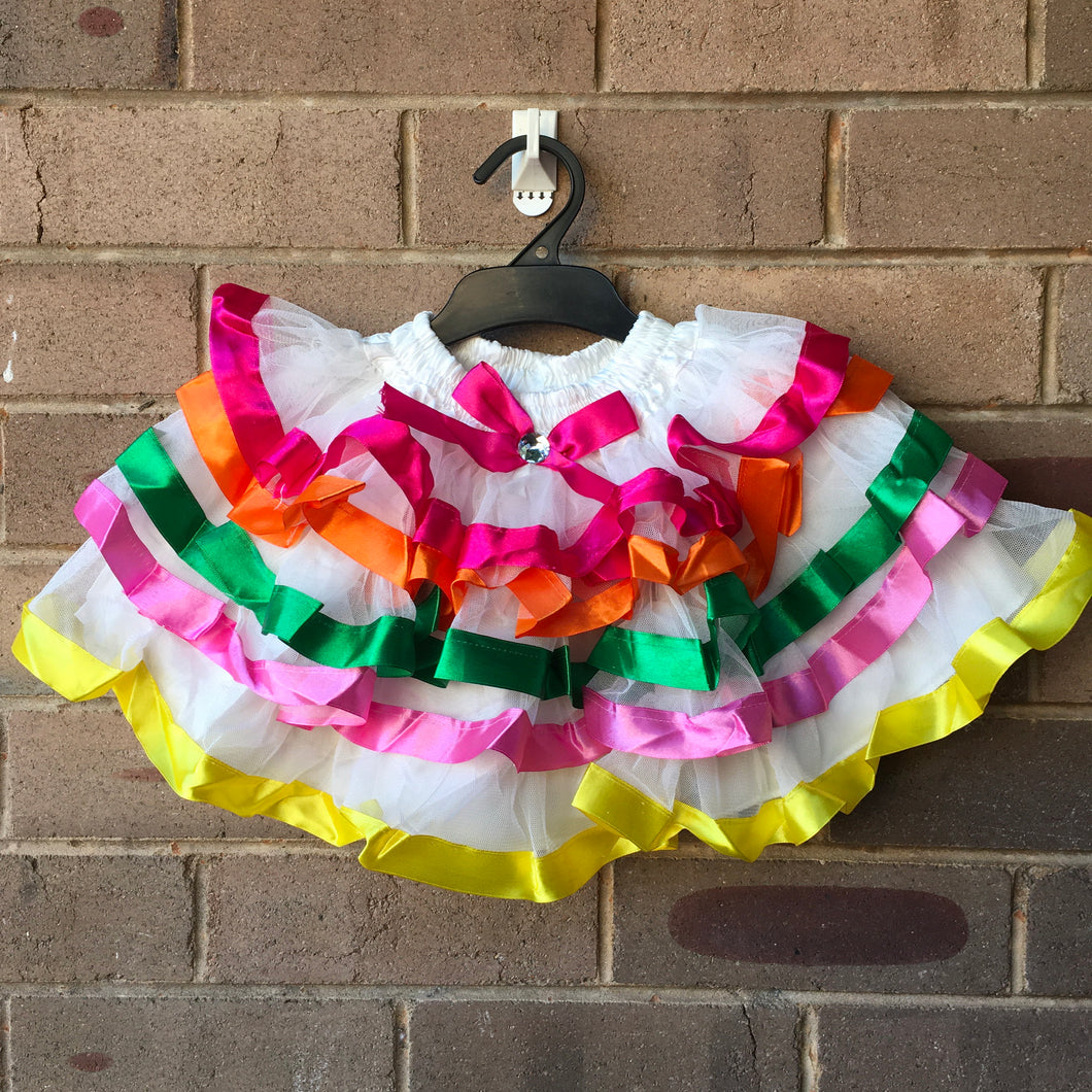 Layered White Fairy Tutu Skirt with Ribbon Trim 3-4 year old