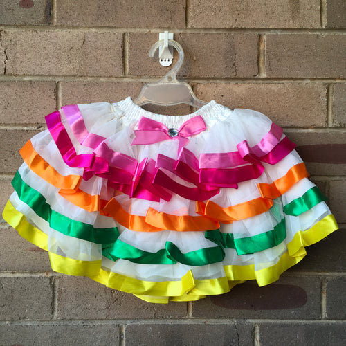 Layered White Fairy Tutu Skirt with Ribbon Trim, 4-5 years