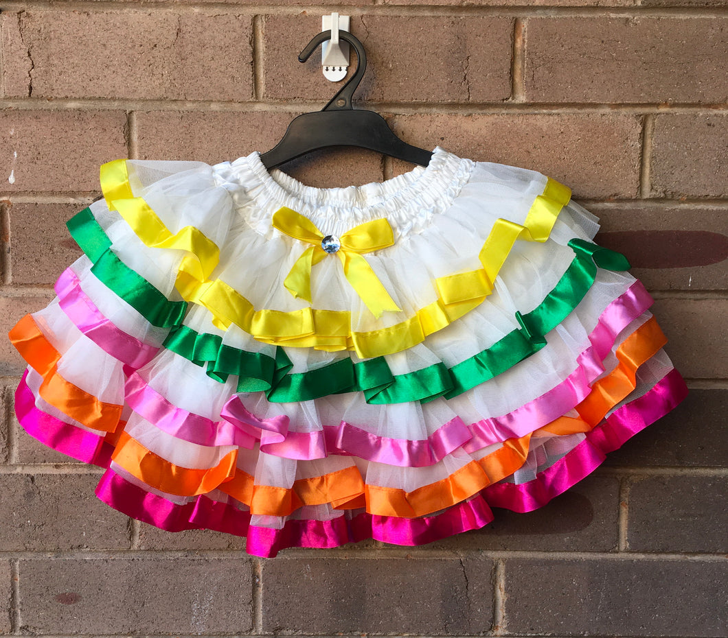 Layered White Fairy Tutu Skirt with Ribbon Trim, 5-6 years