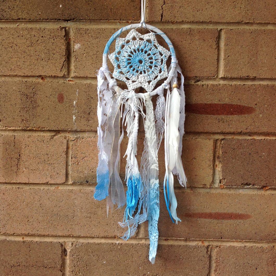Dreamcatcher Boho Crochet Hand Dyed Blue 11cm