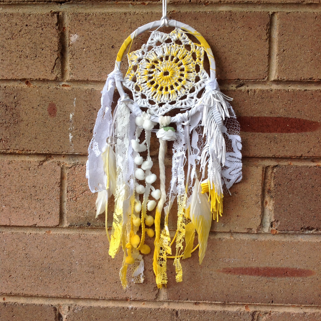 Dreamcatcher Boho Crochet Hand Dyed Yellow 11cm