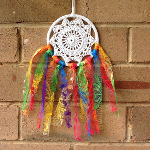 Dreamcatcher Boho Crochet Rainbow Hand Dyed 11cm