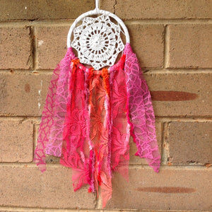 Dreamcatcher Boho Crochet Hand Dyed Red Pink Orange 11cm