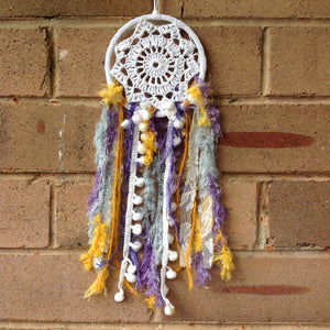 Dreamcatcher Boho Crochet Purple and Yellow 11cm