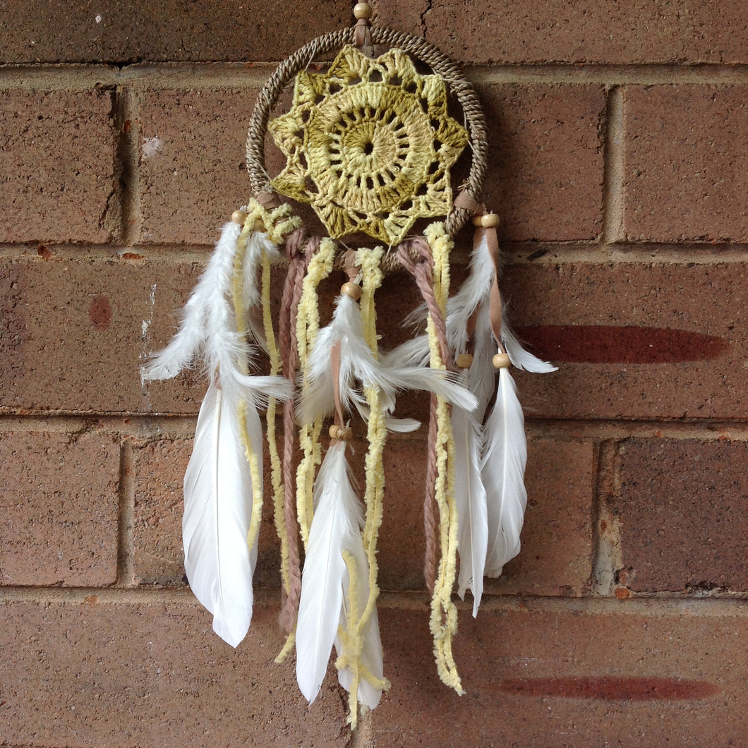 Dreamcatcher Boho Rope and Crochet Yellow  11cm