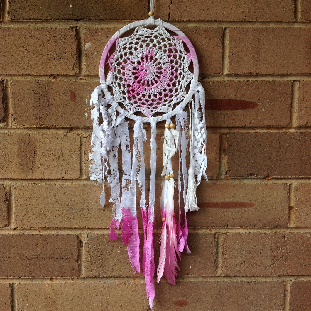Dreamcatcher Boho Hand Dyed Pink and White Crochet 16cm