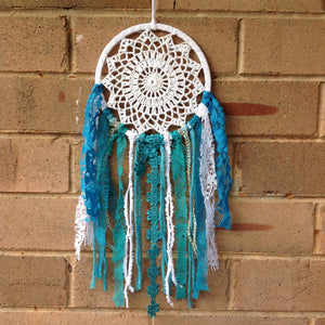 Dreamcatcher Boho Crochet Teal  16cm