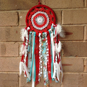 Dreamcatcher Boho Red Crochet and Vintage Print Fabric 16cm