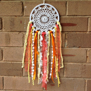 Dreamcatcher Boho White Crochet Sunshine 16cm